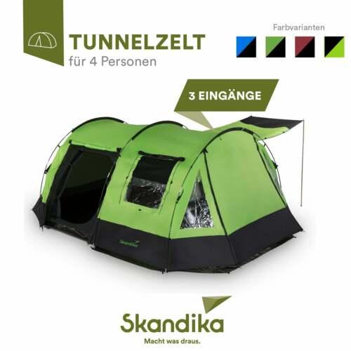 Skandika Kambo 4 Personen Familienzelt Campingzelt Tunnel grün Moskitonetze NEU
