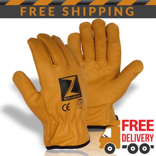 Z-Sicurezza-Gear in Pelle Foderato in Pile inverno freddo termica Guanti Da Lavoro PPE x 1 Paio