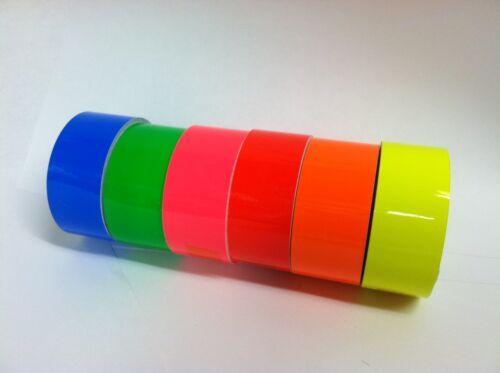 haute visibilité 1 in x 25 Ft 6 rouleaux de Fluorescent Fluo Couleurs Vinyle bandes environ 2.54 cm