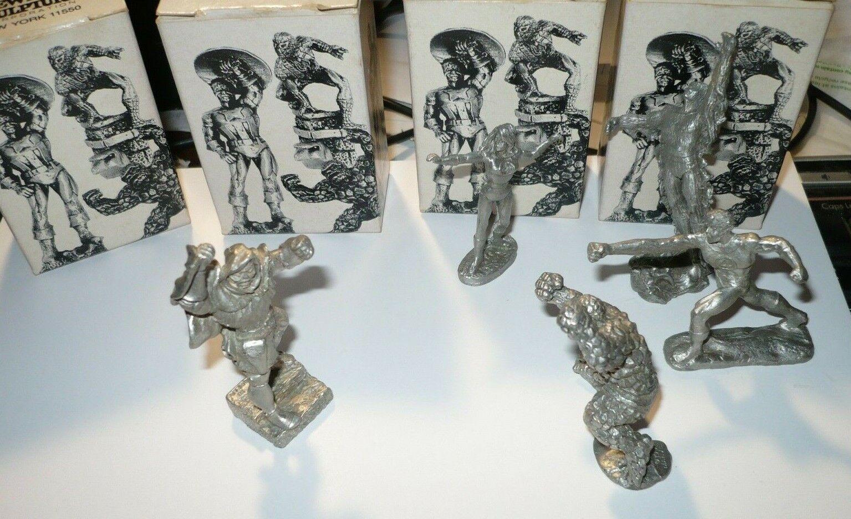 Cuatro Fantásticos-Doctor Doom Set-Lote Peltre Miniatura Gallo 1990 más en Caja