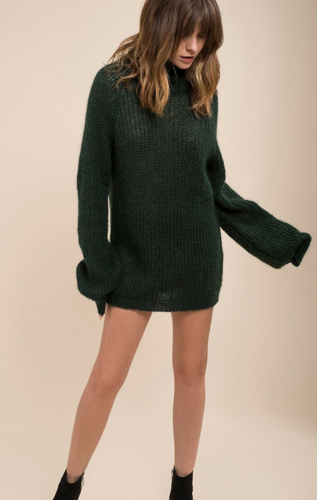 2018 NWT WOMENS MOON RIVER COCOON LONG SLEEVE OVERSIZE SWEATER  58 green