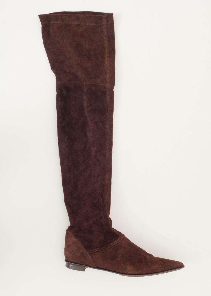 PARALLELE PARIS Donna Brown Suede Over the Knee Pointed-Toe Low-Heel Boot 3.5-6