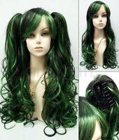 Green Black Wig Removable Ponytails Lolita Cosplay Fashion Harajuku 30