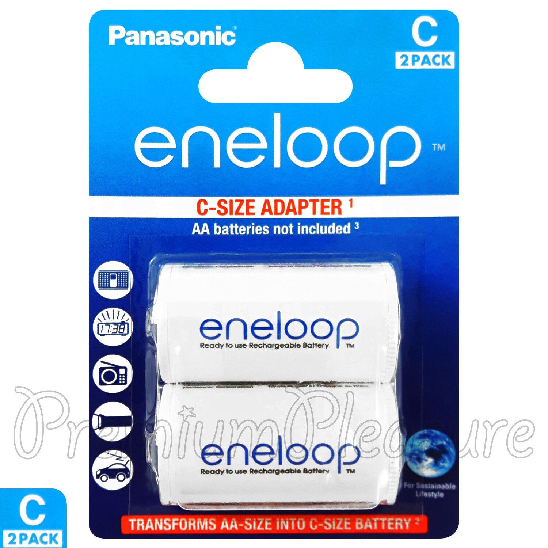 2 x ENELOOP C Size Adapter Converts AA Battery Converter Spacer BQBS 2E