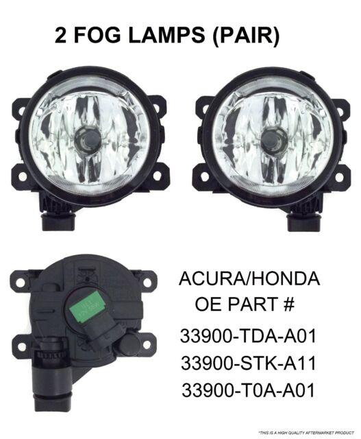 1Pair Fog Lights Lamp For Acura Honda TSX RDX TL ILX CR-V