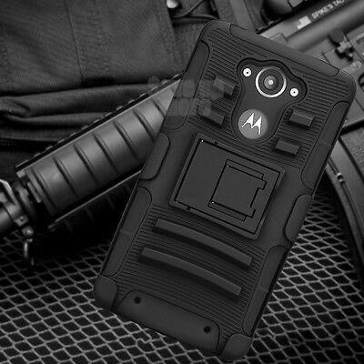 For Motorola Droid Turbo Defender Hard Case Cover Holster Belt Kickstand & Film