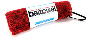 BAITOWEL-MICROFIBER-TOWEL-by-CLIP-WIPES-FISHING-GOLF-W-CARABINER-SELECT-COLOR