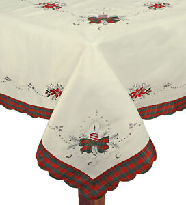 Christmas-Embroidered-Poinsettia-Candle-Tablecloth-With-Napkins-Holiday-3610