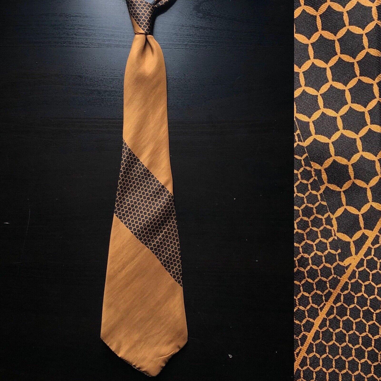 """""""Honeycomb"""" Golden Brown Bronze Tie EUC VTG 1920s 1910s Art Deco Edwardian"""