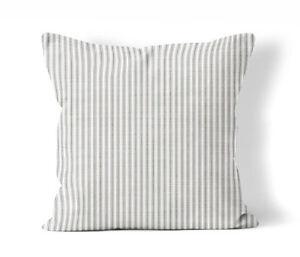 Grey Ticking Stripe Throw Pillow Cover Farmhouse County Chic