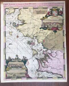 100% Vrai Carte Marine 1693 De Hooge La Rochelle Oleron Ile De RÉ Cordouan Aix Texture Nette
