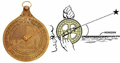 French Astrolabe Historical Brass Rashi Hanging Marine Vintage Brass with Stand
