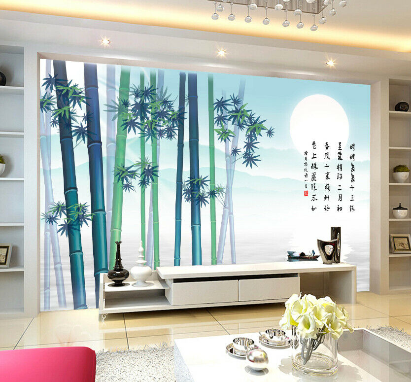 3D Mond Bambus Meer 73 Tapete Wandgemälde Tapete Tapeten Bild Familie DE Summer