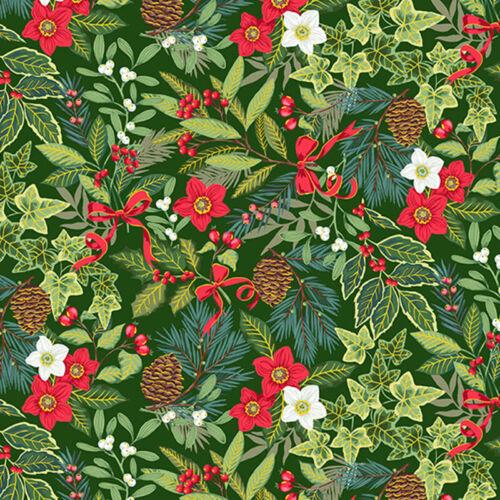 Per 1//4 Metre Makower Yuletide Foliage Green Fabric