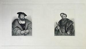Grabado Anonymous Retrato Christian y De Gustave? S.XIX