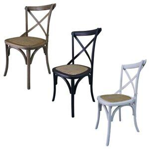 6-Set-French-Provincial-Hamptons-Cross-Back-Oak-Birch-Rattan-Dining-Stool-Chair