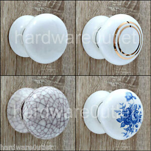 CERAMIC Cottage Mortice Door Knobs or Matching Finger/Push Plates ...
