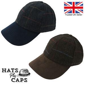 Tweed-Baseball-Cap-VTG-Heritage-Style-Wool-Blue-Brown-Winter-Hat