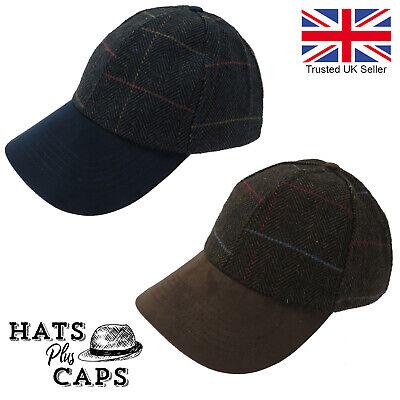 Heritage Traditions Mens Fashion Outdoor Blue Herringbone Tweed Cap Hat