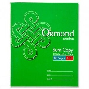 Ormond C3 School Maths 7mm Squared Exercise Books 88 Pages Sum Value A5+ 011112