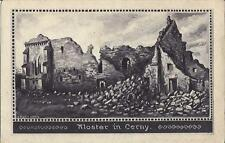 ✚827✚ German Field Postcard Feldpost WW1 FRANCE RUINS CLOISTER CERNY DRAWING