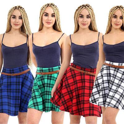 2XL M//L XL New Women/'s Red Tartan Check Print Belted Skater Flared Skirt S//M