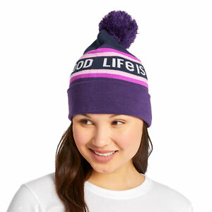 Life is Good LIG Stripes So Chill Beanie, Deep Purple - One Size