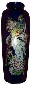 VINTAGE-JAPANESE-VASE-WITH-FLOWERS-AND-BIRDS-BEAUTIFUL-BLUE-WITH-GOLD-TRIM