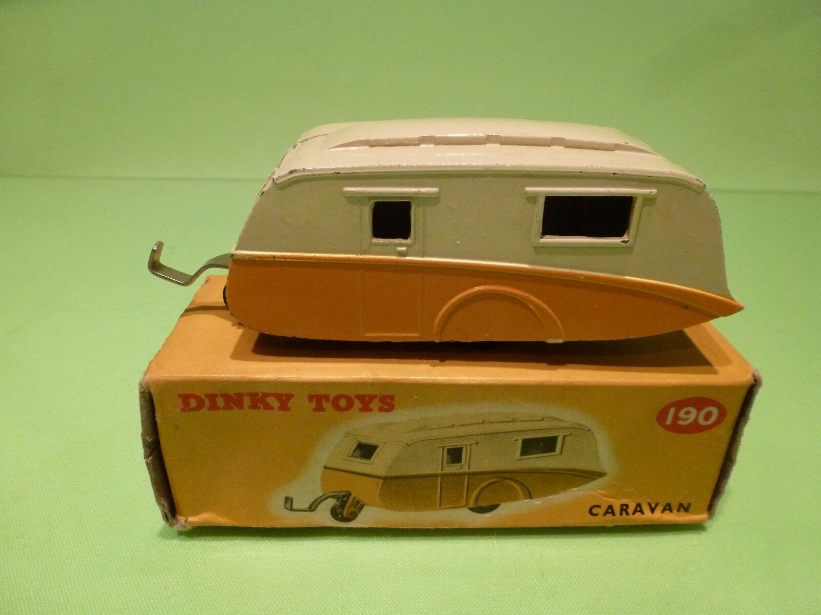 DINKY TOYS 190 CARAVAN WOHNWAGEN - jaune Orange + CREAM - EXCELLENT IN BOX