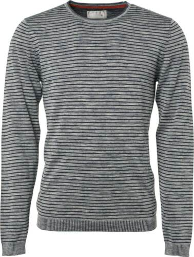No Excess Homme Pull Col Rond Stripe plated avec Lin Automne