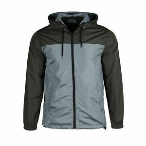 Men-Hooded-Water-Resistant-Windbreaker-Zipper-Outdoor-Sports-Jacket-size-XXS