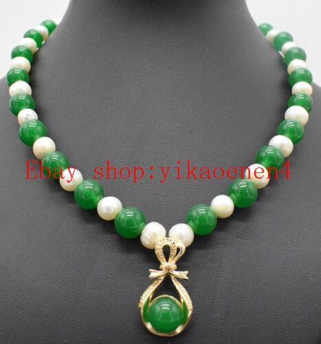 """Encantador 7-8 mm Blanco Perla Y 10 mm Redondo Verde Esmeralda Colgante Collar 18/""""AAA"""