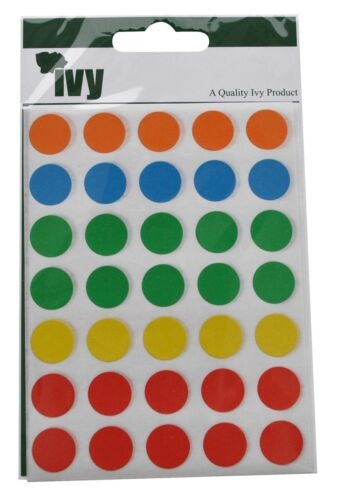 1,400 Sticky Coloured 13mm Labels Dots Circles Self Adhesive Five Colours