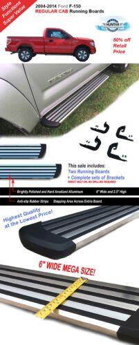 "04-14 Ford F-150 Regular Cab 6/"" Chrome Running Side Step Boards Nerf Bars"