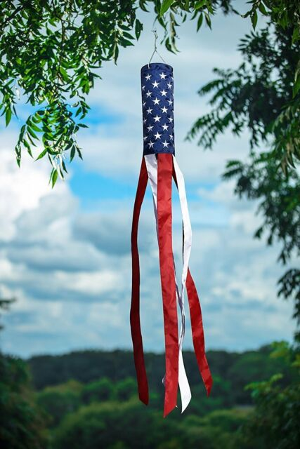G128 Windsock 60 Inch Embroidered Stars and Stripes Patriotic Hanging Decoration