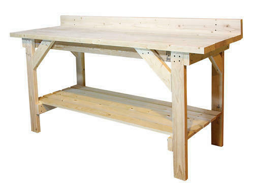 6' Heavy Duty Natural Wood Garage Workbench 2 Shelf Basement Storage Work Table