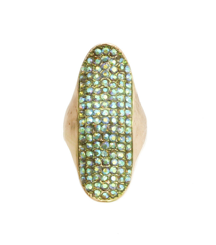 Gold and Green Rhinestone Long Curved Armor Style Stret