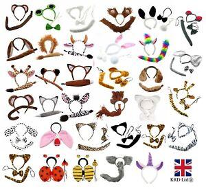 ANIMAL-EARS-BOW-TAIL-SET-Book-Week-Costume-Fancy-Dress-Accessory-Kids-Adults-Kit