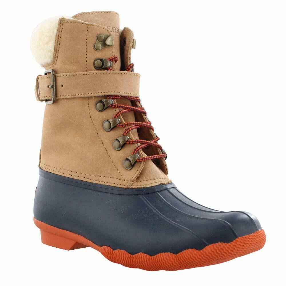 Sperry Women's Shearwater Duck Inspired Wet Weather Weather Weather Boots Tan Navy 7112ca