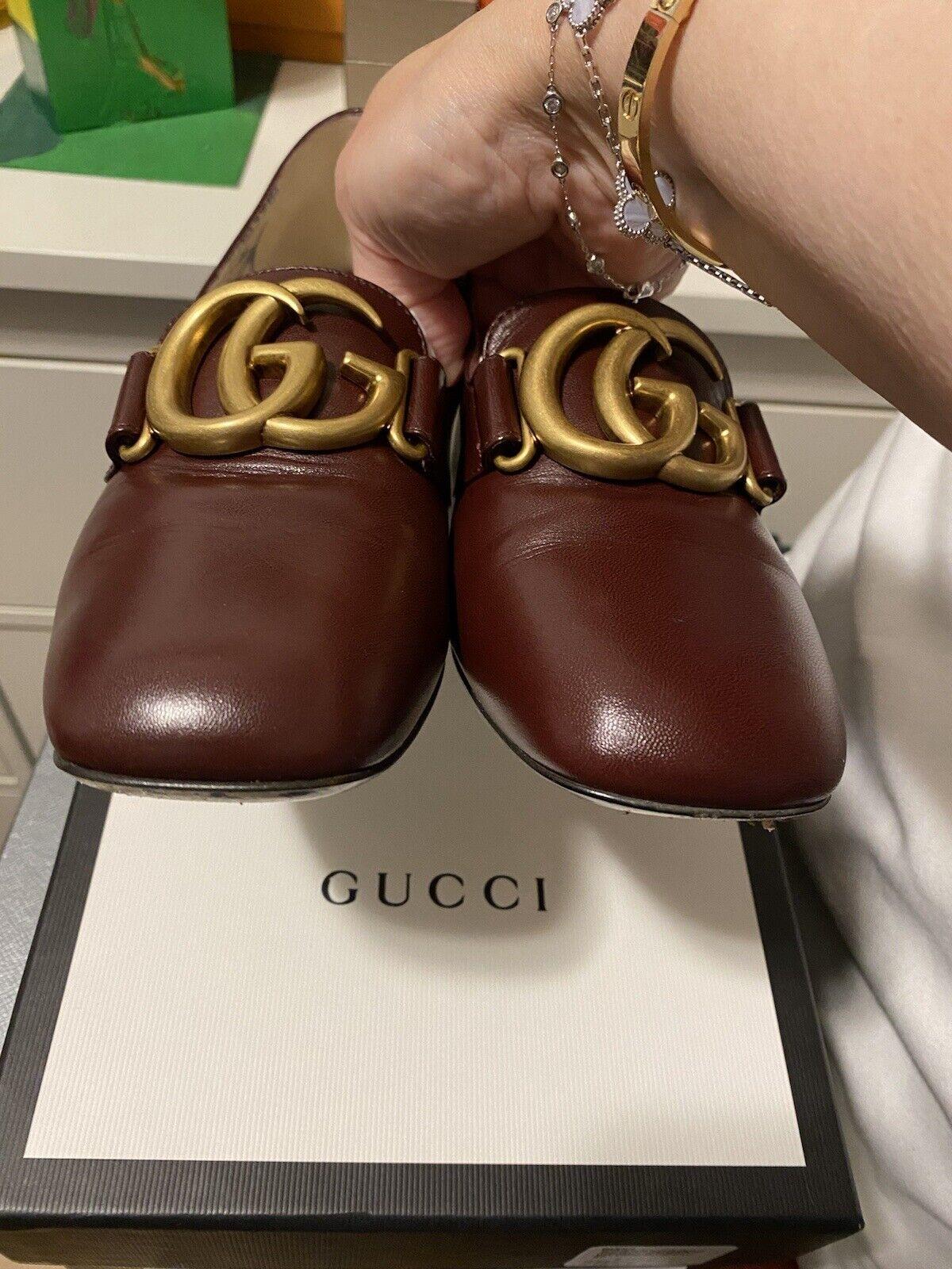 Gucci Malaga Kid Vintage Bordeaux heel loafer 37 … - image 5
