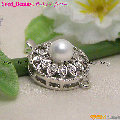 Crystal & Shell Pearl Jewelry Making Clasp, White Gold-pleated,16MM Disc-shaped