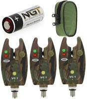 3 X Ngt Vc1 Camo Bite Alarms + Case + Batteries Carp Coarse Fishing Alarms