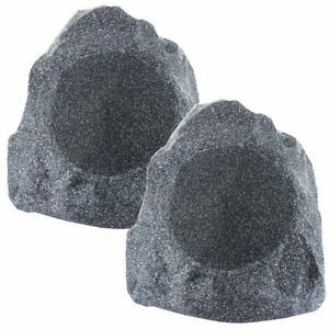 8-Inch-Outdoor-Garden-Waterproof-Granite-Rock-Patio-Speaker-Pair-weatherproof
