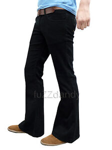 Mens-FLARES-Black-Bell-Bottoms-Cords-Hippy-Hippie-vtg-indie-Trousers-Pants-NEW