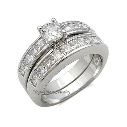 CLEARANCE-----Silver Tone Brilliant /& Princess Cut CZ Wedding Ring Set SIZE 6-10