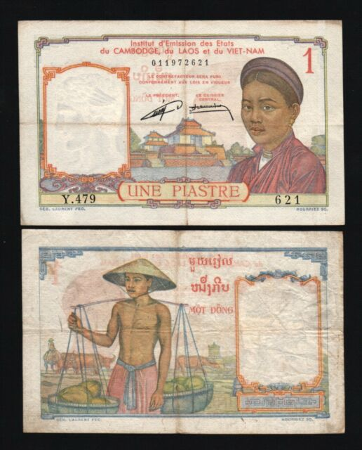 FRENCH INDO CHINA 1 PIASTRE P92 1953 BUFFALO VIETNAM FRENCH CURRENCY MONEY NOTE