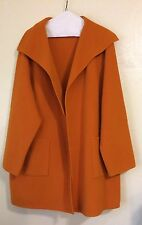 Pre-Owned Eileen Fisher Plus SZ 1X Open Front Wool Blend Sweater Coat Orange