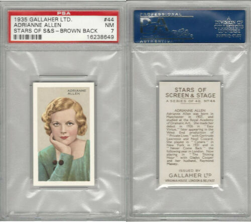 G12100 Gallaher, Stars Of Screen & Stage, 1935, #44 A. Allen, PSA 7 NM