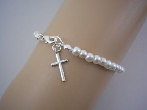 Delicada Pulsera de perlas para Niña Mujeres Encanto Cruz Sagrada Comunión Confirmación 2WF