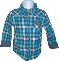 USED Boys Mini Club Blue Mix Checked Shirt Size 9-12 Months